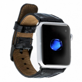 Läderurrem för Apple Watch 42mm / 44 mm - New Croco Black